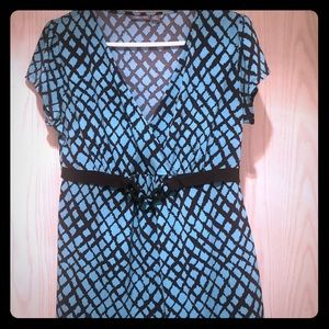 Belted faux-wrap blouse.